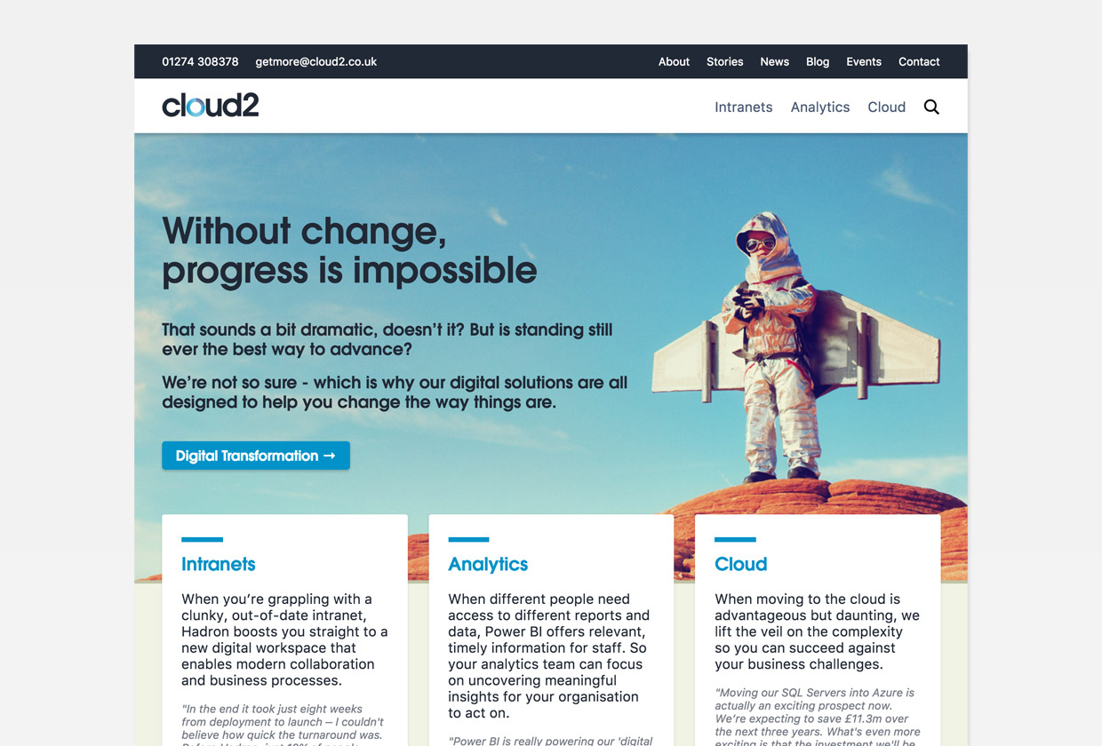 Cloud2 website homepage
