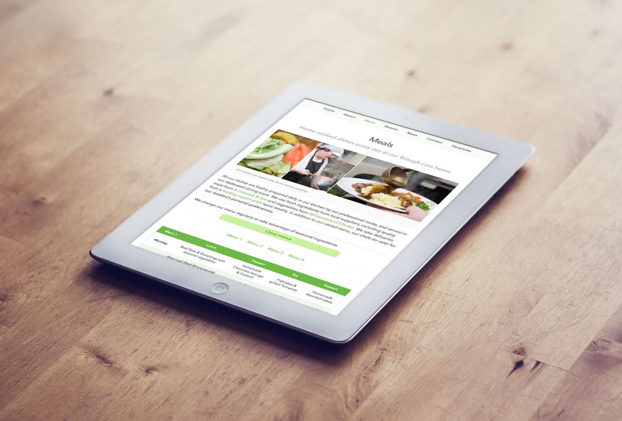Green care home website on an ipad in portrait orientation