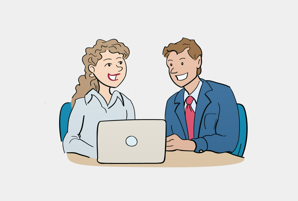 Vector illustration of a couple around a laptop